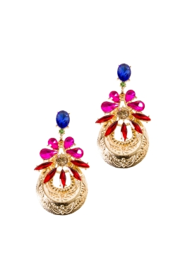 Adorne - Flower and Plate Drop Earring - Gold Multi - Front