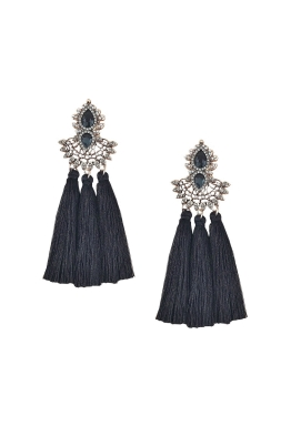 Adorne - Jewel Filigree Many Tassels Clip On Earring - Black - Front