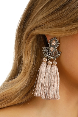 Adorne - Jewel Filigree Many Tassels Clip On Earring - Pink