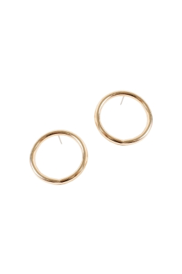 Adorne - Medium Front Hoop Stud Earring - Gold - Front