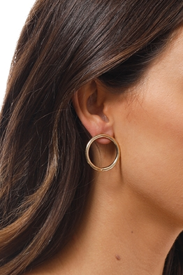Adorne - Medium Front Hoop Stud Earring - Gold - Side