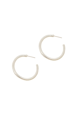 Adorne - Medium Open End Metal Hoop Earring - Silver - Front