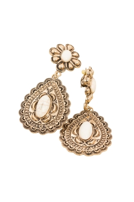 Adorne - Moroccan Flower & Teardrop Stone Clip On Earring