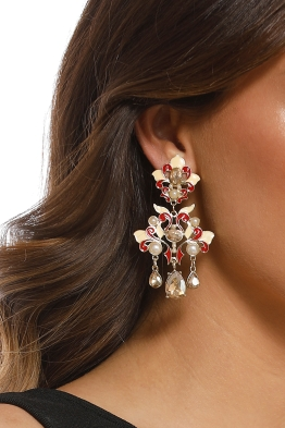 Adorne - Oriental Pearl Faceted Glass Clip On Earrings - Red Nude - Product