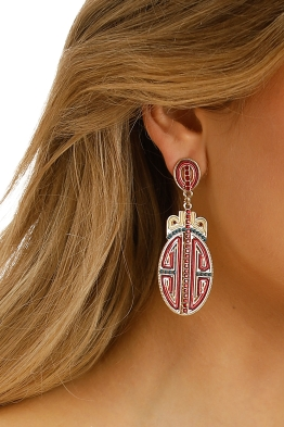 Adorne - Oriental Statement Earrings - Red Gold - Product