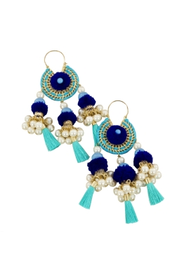 Adorne - Pearl and Tassel Dream Catcher Earring - Blue - Front