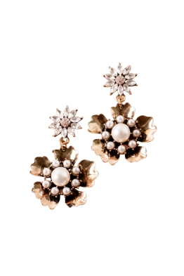 Adorne - Pearl Centre Metal Flower Drop Earrings - Crystal Gold - Front