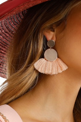 Adorne - Polished Disks Fringe Earring - Pink - Product