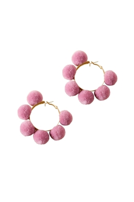 Adorne - Pom Pom Hoop Earrings - Pink Gold - Front