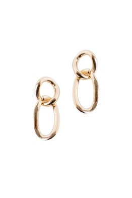 Adorne - Simple Chain Link Earrings - Gold - Front
