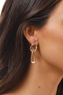 Adorne - Simple Chain Link Earrings - Gold - Side