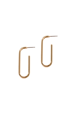 Adorne - Single Link Stud Earrings - Gold - Front