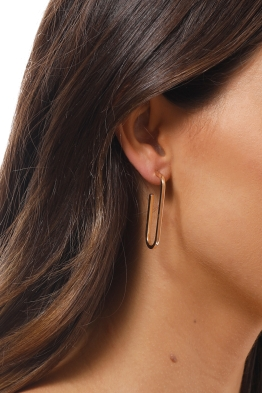 Adorne - Single Link Stud Earrings - Gold - Side