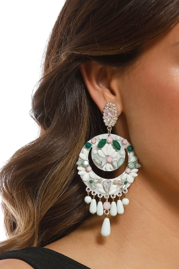 Adorne - Statement Resin & Faceted Glass Drop Earrings - Mint White - Product