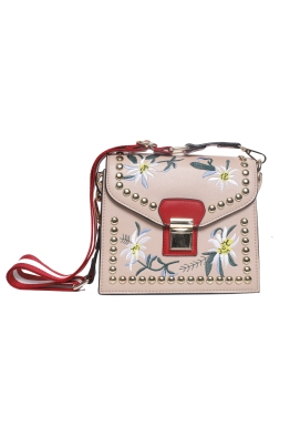 Adorne - Structured Floral Embroidery Bag - Nude - Front