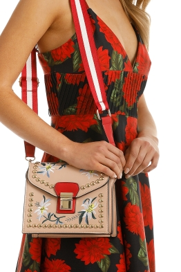 Adorne - Structured Floral Embroidery Bag - Nude - Product