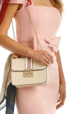 Adorne - Structured Striped Fold Over Shoulder Bag - Nude - Side