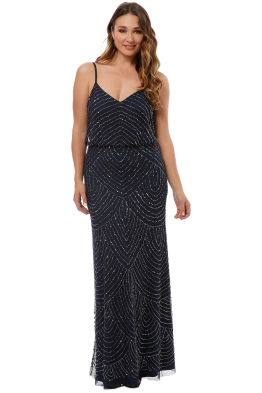 08fd276e045a Adrianna Papell - Art Deco Beaded Gown - Navy - Front