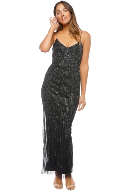 a9e364463a9e Adrianna Papell - Long All Over Beaded Dress - Black - Front
