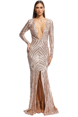 Ae'lkemi - Art Deco Sequin Gown - Gold - Front