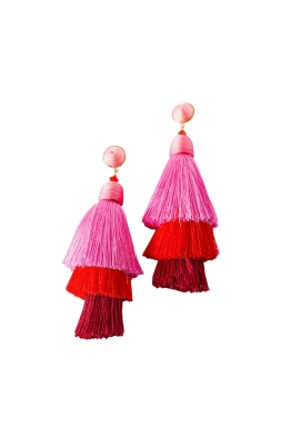 Adorne - Layered Tassel Wound Top Earrings - Pink - Front
