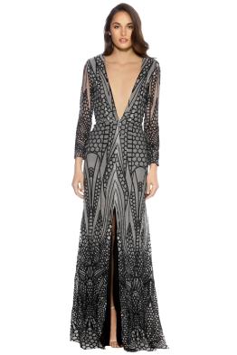 Ae'lkemi - V Plunge Embellished Gown - Front