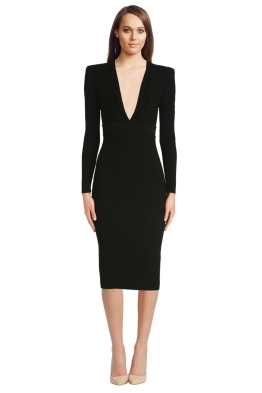 Alex Perry - Nadine Satin Crepe V Pencil Dress - Front