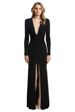 Alex Perry - Nadine V Long Sleeve Gown - Black - Front