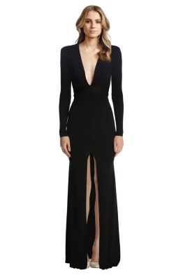 Alex Perry - Nadine V Long Sleeve Gown - Front - Black