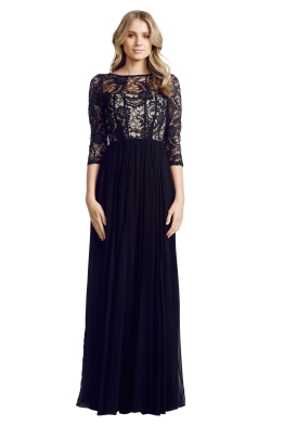 Alice and Olivia - Robinson Sequined Lace and Silk-Georgette Gown - Front - Black