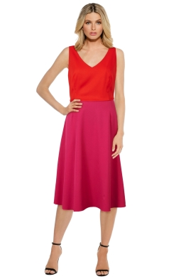 Anna Scholz - Crepe Tailoring V-Neck Swing Dress - Pink - Front