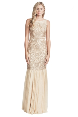 Badgley Mischka - Champagne Beaded Gown - Front