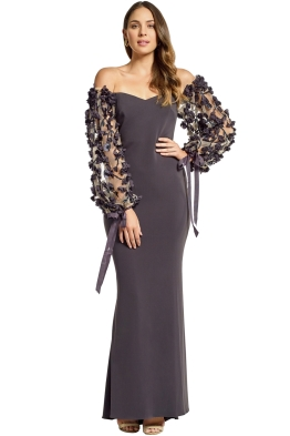 Badgley Mischka - Odessa Off Shoulder Gown - Charcoal - Front