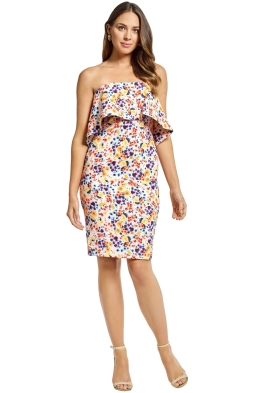 Badgley Mischka - Printed Strapless Popover Dress - Blush Multi - Front