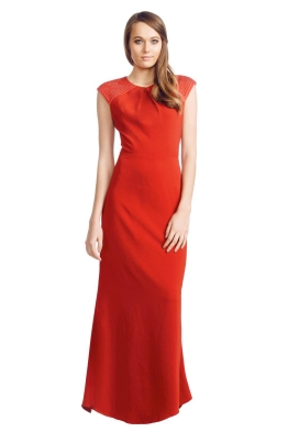 Badgley Mischka - Bedazzled Gown - Front - Red