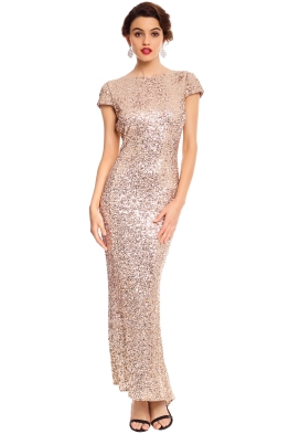 Badgley Mischka - Sequin Cowl Front Back - Blush - Front