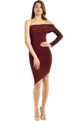 Bec and Bridge - Love Ruler LS Asym Dress - Deep Rouge - Front