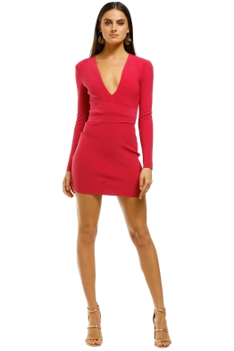 Bec+Bridge-Valentine-LS-Mini-Dress-Hot-Pink-Front