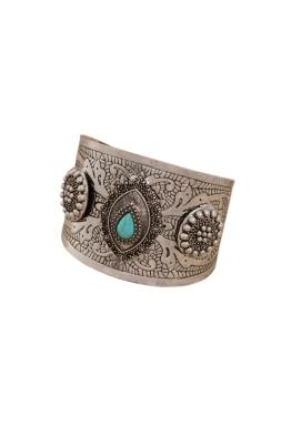 Adorne - Boho Stone Teardrop Metal Cuff - Silver - Front