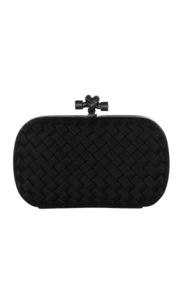 Bottega Veneta - The Knot watersnake-trimmed intrecciato satin clutch - Spring Wedding