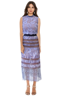 Bronx and Banco - Lilac Tuscany Lace Detailed Midi Dress - Front