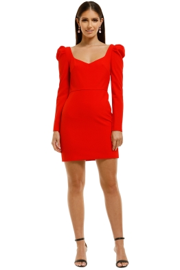 By-Johnny-Square-Neck-Puff-Sleeves-Dress-Red-Front