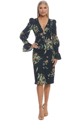 By Johnny - Black Jungle Tulip Sleeve Dress - Black Floral - Front