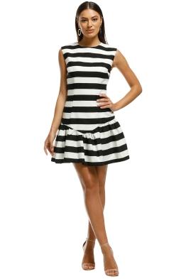 By Johnny - Bold Stripe V Gather Mini Dress - Black White - Front