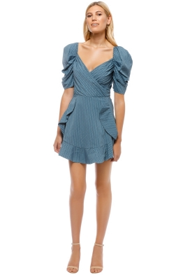 C_MEO - Lift Me Dress - Steel Blue Spot - Front