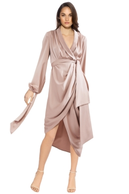 Cameo - Influential LS Dress - Sand - Front