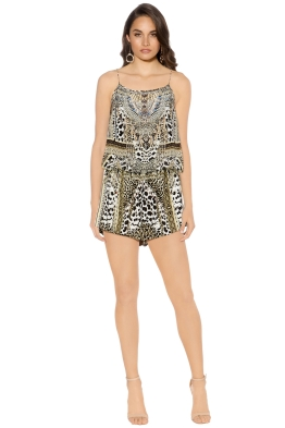 Camilla - Animal Instinct Shoestring Strap Playsuit - Front