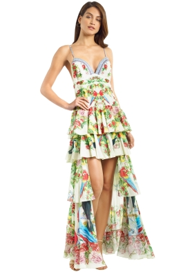 Camilla - Call Me Carmen Gathered Tiered Dress - Green - Front