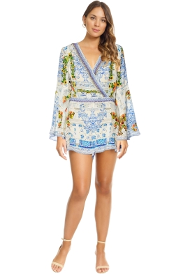Camilla - Come As You Are Bell Sleeve Playsuit - White Print - Front