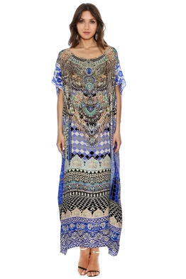 Camilla - Courtyard of Maidens Round Neck Kaftan - Prints - Front
